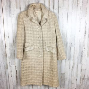 Wool Button Down Trench Coat Winter Jacket Tan L